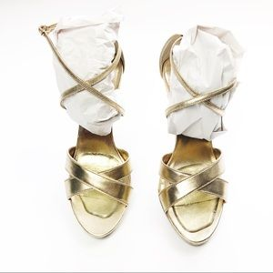 LILLY PULITZER BELLA GOLD STRAPPY SANDAL HEELS 10